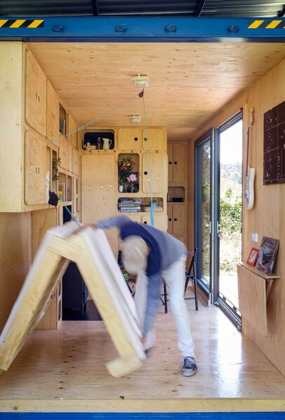 Foldable furniture helps save space in the small house.