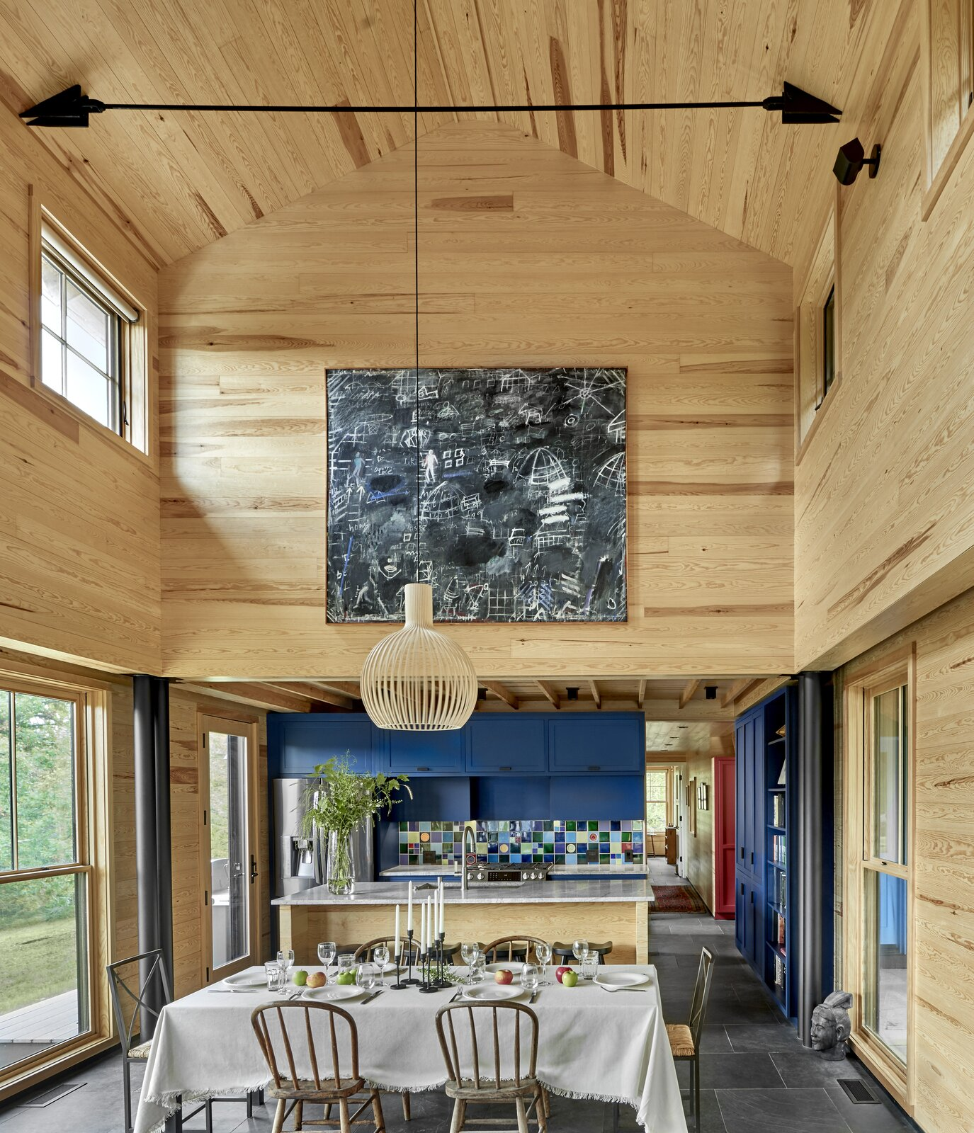 Haas Valley Farm by Searl Lamaster Howe Architects double-height dining room