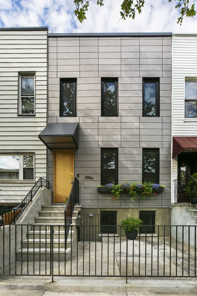 Sunset Park Row House Modern Home in New York by Bostudio ... on front of house storage, front of house trees, front of house landscaping, front of house awards, front of house signs, front of house decor, front of house lighting,