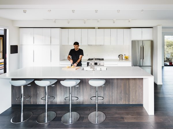 A simple, chic, elegant modern prefab open kitchen.