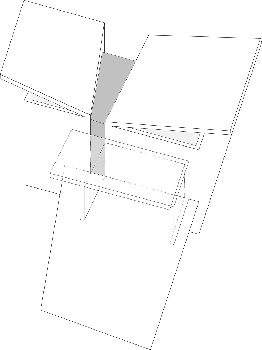 Conceptual diagram of the two blocks sit that come together in the middle with a wedge-shaped volume that forms the entrance and the vertical circulation leading to the main spaces of the house  The Wedge House