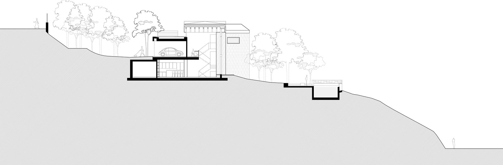 Longitudinal section showing the steepness of the terrain. An almost 20-meter-height-difference from one side of the site to the other and virtually vertical cliffs on both edges made it inevitable the house to be situated at the mild inclined surface that appeared in the middle of it  The Wedge House