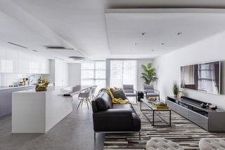 Modern interior , kitchen and living room  designed  bye Nathalie milazzo.