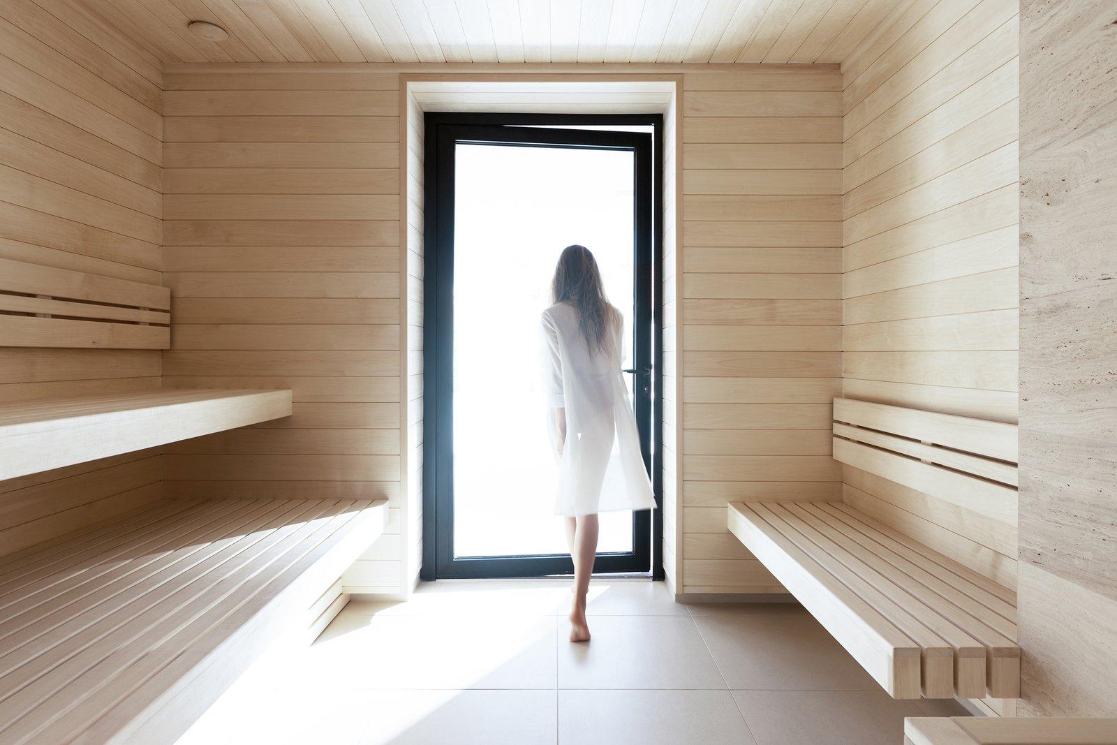Bath, Wood, Light Hardwood, Porcelain Tile, and Wall WH Residence | M3 Architects  Best Bath Porcelain Tile Light Hardwood Photos from WH Residence