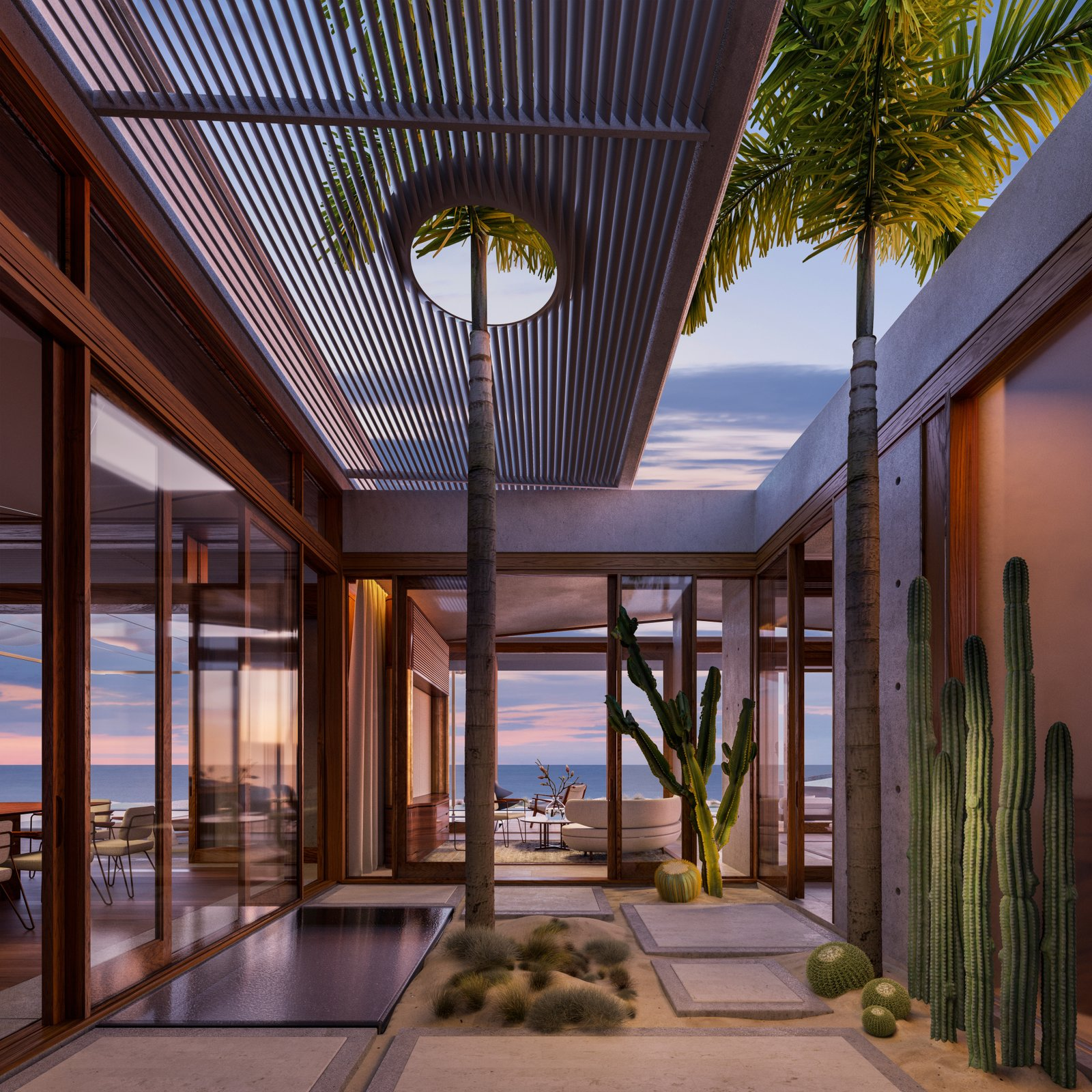 Enfolded into the westernmost edge of the Costa Palmas community, the grounds will include a Robert Trent Jones II golf course, 18-acres of organic farms, and a private members-only Costa Palmas Beach and Yacht Club to for residences. For those seeking permanent bliss, there will be an initial release of 24 whole-ownership residences ranging from four to seven bedrooms for sale; tucked in various, but all equally mesmerizing locations including the edge of the dunes with a panoramic view of the ocean, facing the golf course, or nestled within the organic farms. Owners will have the opportunity to collaborate with Heah & Co. to customize their homes with options of pavilions for bedrooms, theater, fitness and yoga, or a family room.