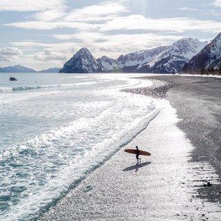 Surfing in Seward, Alaska.