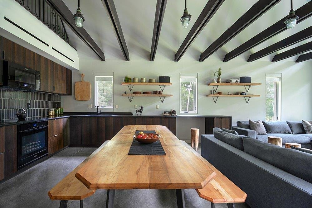 Pond House kitchen with reclaimed wood dining table