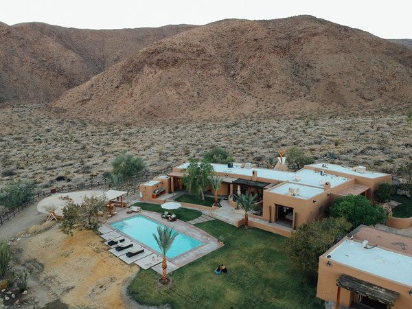 An aerial view of Melissa Young's desert hacienda.
