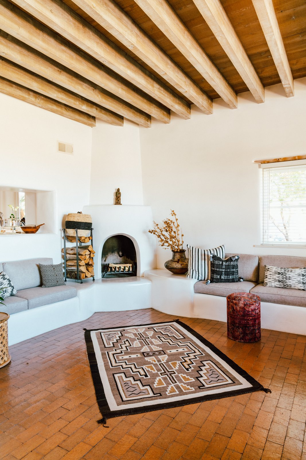 Melissa Young desert hacienda living room with kiva fireplace
