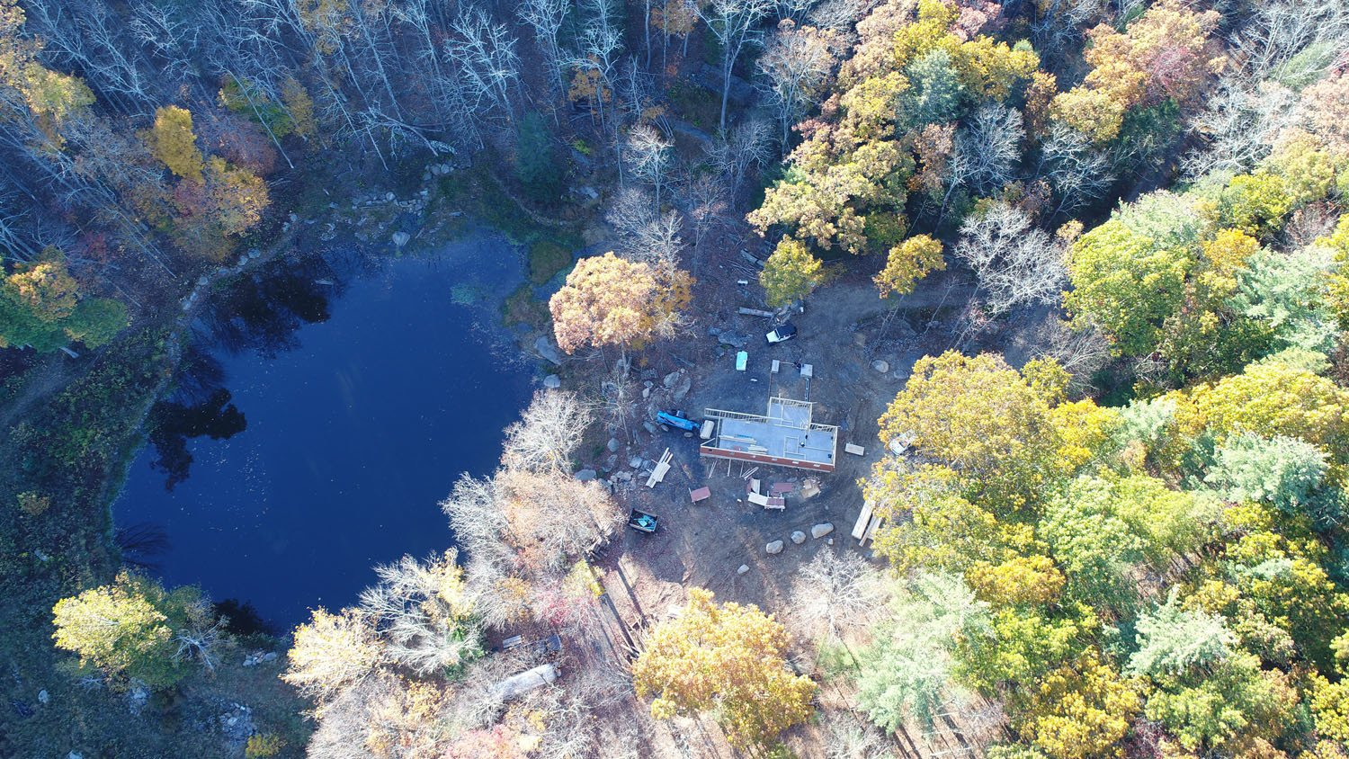 Aerial view of the Pond House property