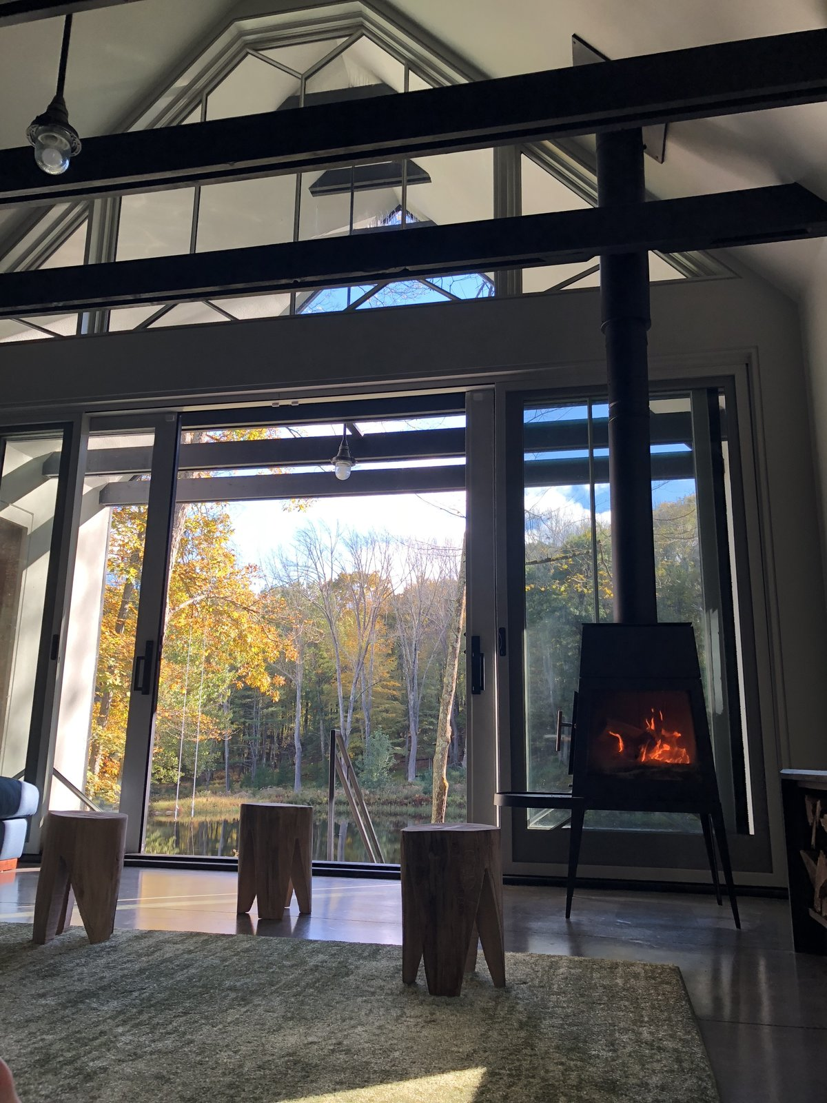 Pond House living room with fireplace and floor-to-ceiling glass wall