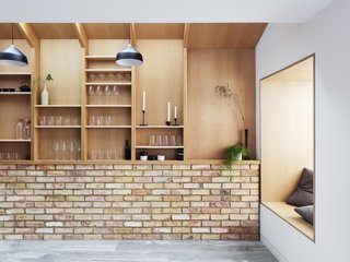 Sleek, open shelving custom-designed by Chris Chapman allows household items to become decor.