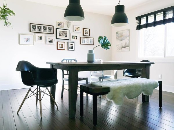 Reminiscent Of Diane Keatons Inky Abode Conklins Moody Dining Room Is Furnished With Herman Miller