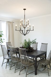 The dining room is stylish but simple for fuss-free family dinners.