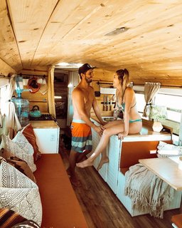 Tyler and Lexi in their beach bungalow on wheels.