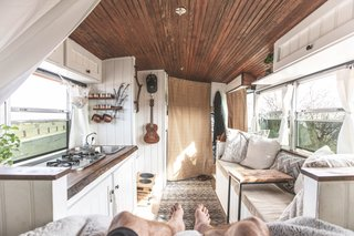 Conte splayed in bed taking in his home on wheels.