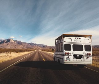 Conte's bus on the open road.