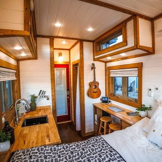 A view of the tiny home from the bed.