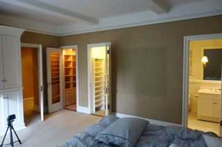 The dreary olive-toned bedroom needed a refresh and a bathroom redo.