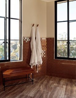 Rust-hued tile provides a pop of color against the onyx windows and bench legs.