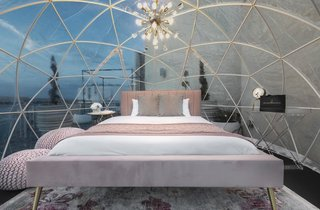 In a nod to the 1960s, a blush palette and gold accents permeate the dome.