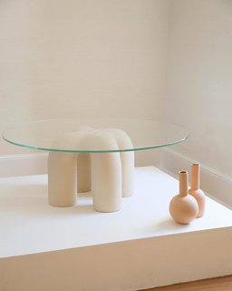 Parker's Ceramic Stitch Table at Eny Lee Parker's show at Laney Contemporary.