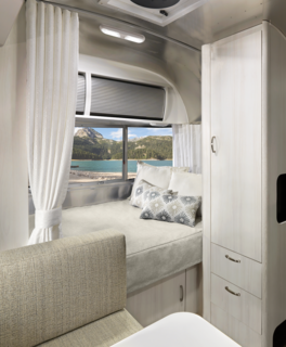 The trailer is available in four lengths (16, 19, 20, and 22 feet), and all include a dedicated bed with privacy curtain and mattress that's made to fit the curve of the Airstream.