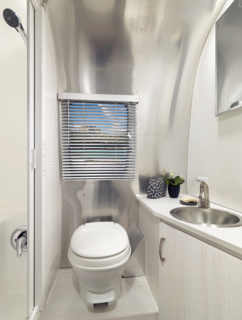 The 20-foot and 22-foot models offer more counter space in larger kitchens, and the 22-foot even has a bathroom that spans the entire rear of the trailer.