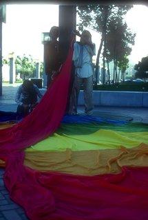 Preparing the original flag to be raised in 1978.