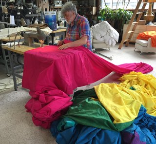 Baker sewing a giant flag for the miniseries <i>When We Rise</i>.