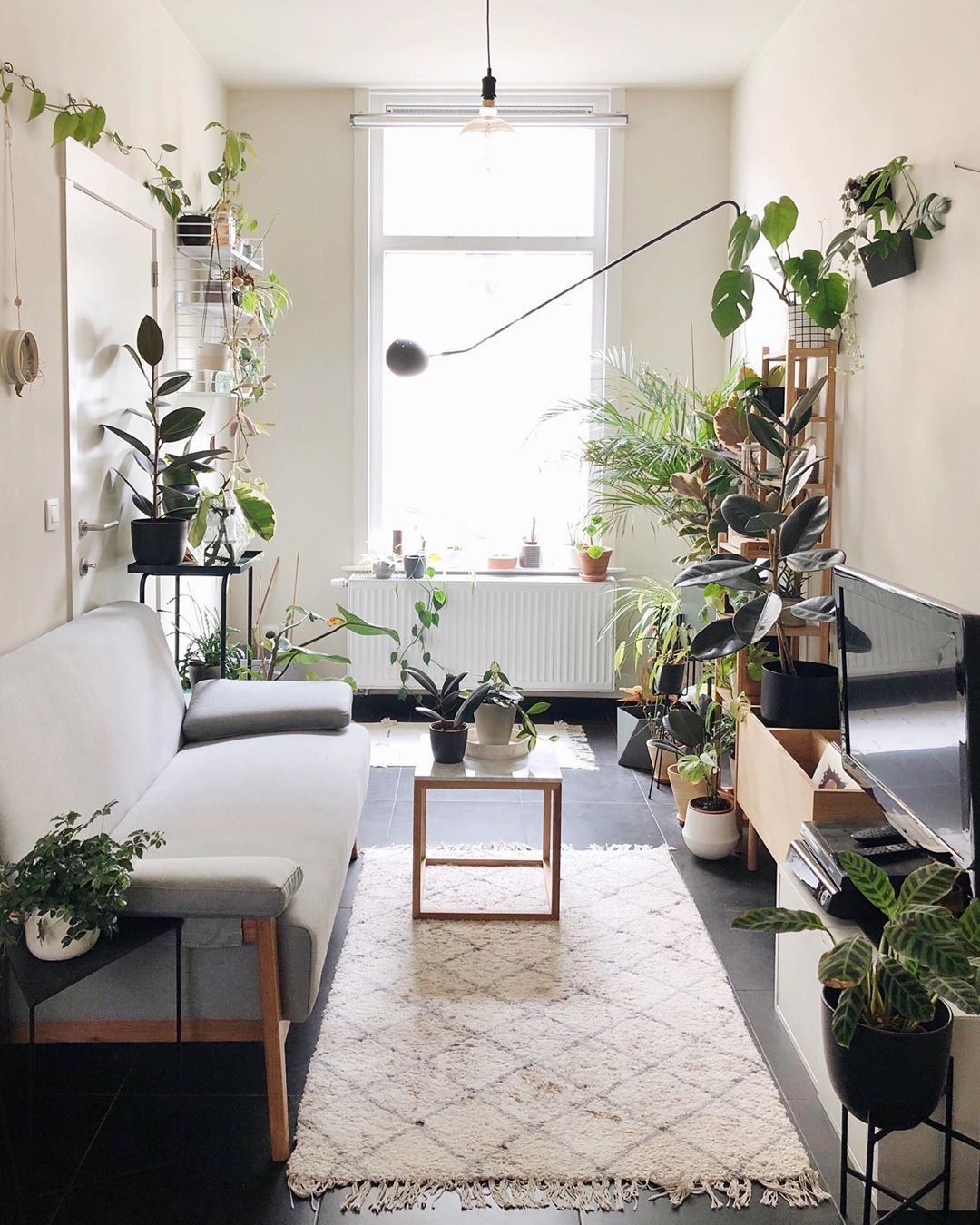 Living Room, Sofa, Coffee Tables, Dark Hardwood Floor, and Wall Lighting Nelson De Coninck's space is an airy, art-filled sanctuary.  Best Photos from 10 Plant-Filled Abodes You Should Follow on Instagram Right Now