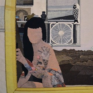 Erin M. Riley depicts a familiar contemporary trope—a woman taking a selfie—through traditional craft.