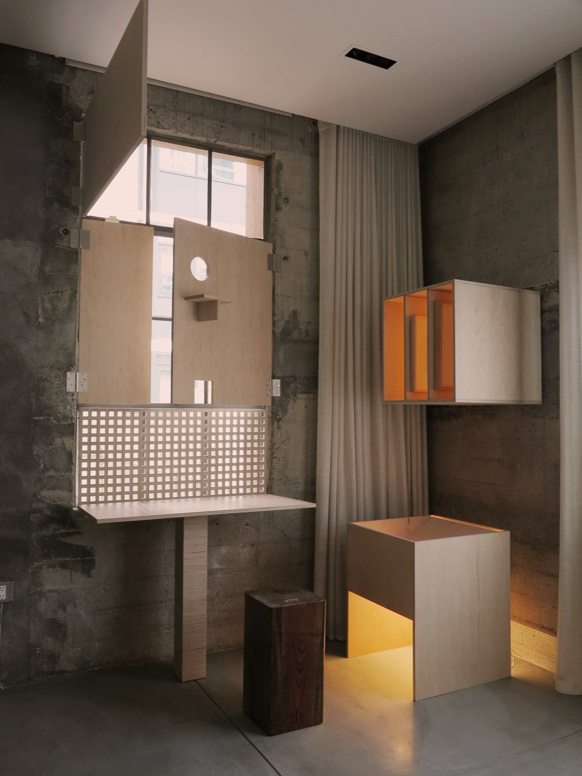 Francis Mill loft plywood owl corner and light box