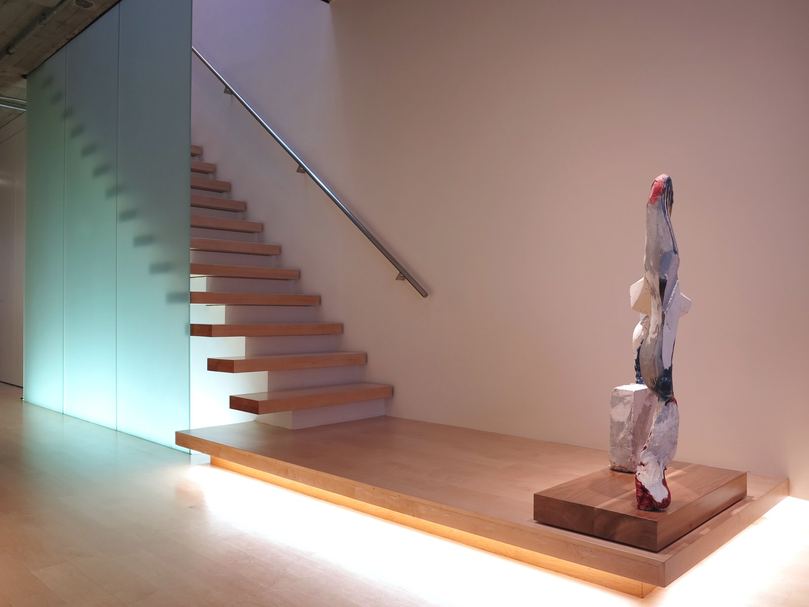 Francis Mill loft staircase with plaster sculpture