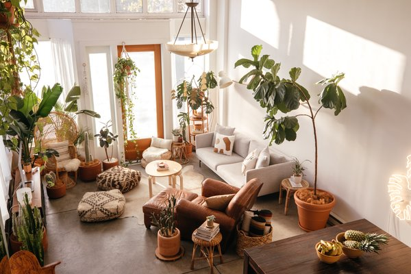 Jimmy Brower and Damien Merino are a creative couple with an entrepreneurial mindset—and they created a sun-soaked sanctuary on the Oakland/Emeryville border that's characterized by lush plant life, quiet nooks, and handmade art and decor.