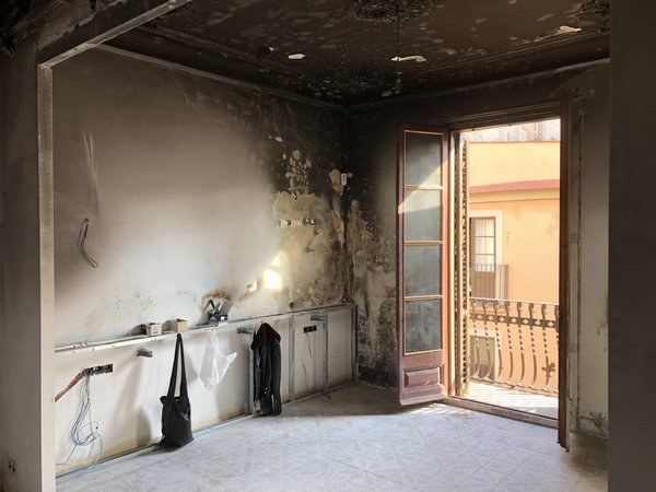 A view of the original living room after the fire.