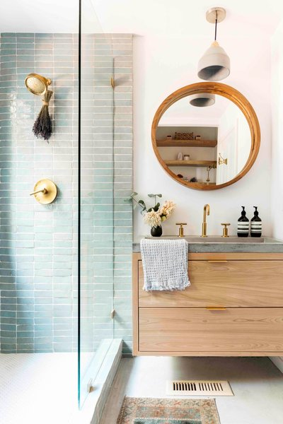 The tiles in the bathrooms are by Clé Tile and Zia Tile.