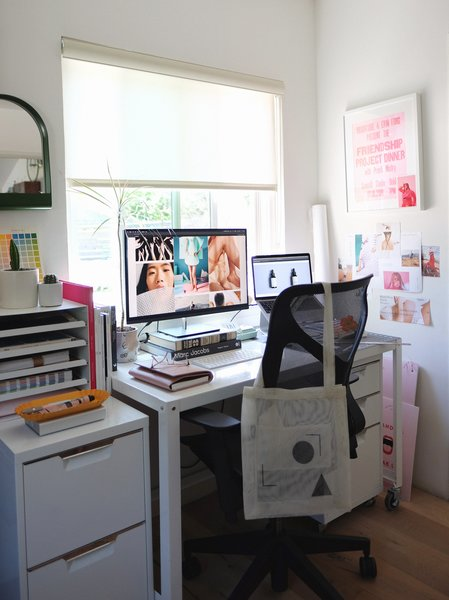 While initially only Danielle occupied the office for her design and art direction work, Bryan now shares the space with her. Here's a peek of her desk.