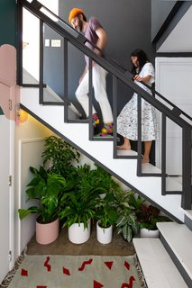 在入口处,植物的植物和朋友的分类被旁边的一个Ilano设计地毯楼梯下依偎。