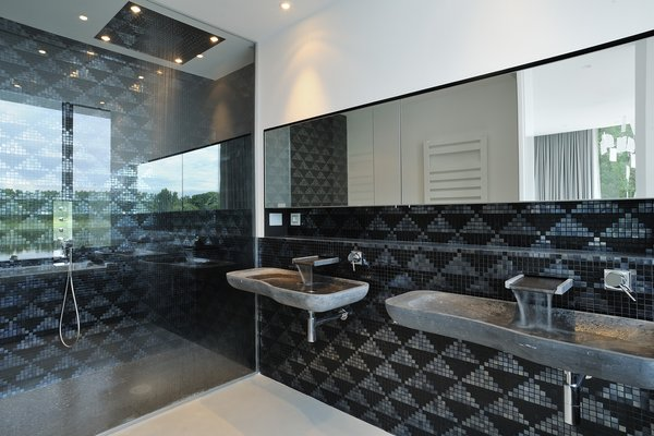 Bath, Stone, Ceramic Tile, Full, Wall Mount, Concrete, Mosaic Tile, Ceiling, and Recessed The bathroom  Best Bath Mosaic Tile Ceiling Wall Mount Photos from White Snake house