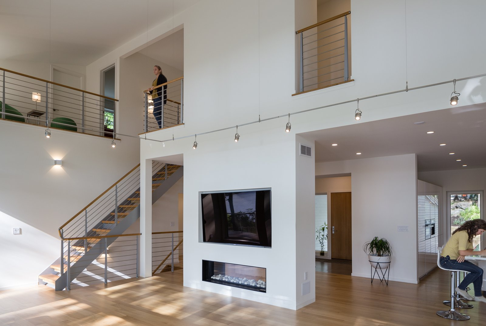View of second floor gallery  Khabensky Residence by Richard Pedranti Architect