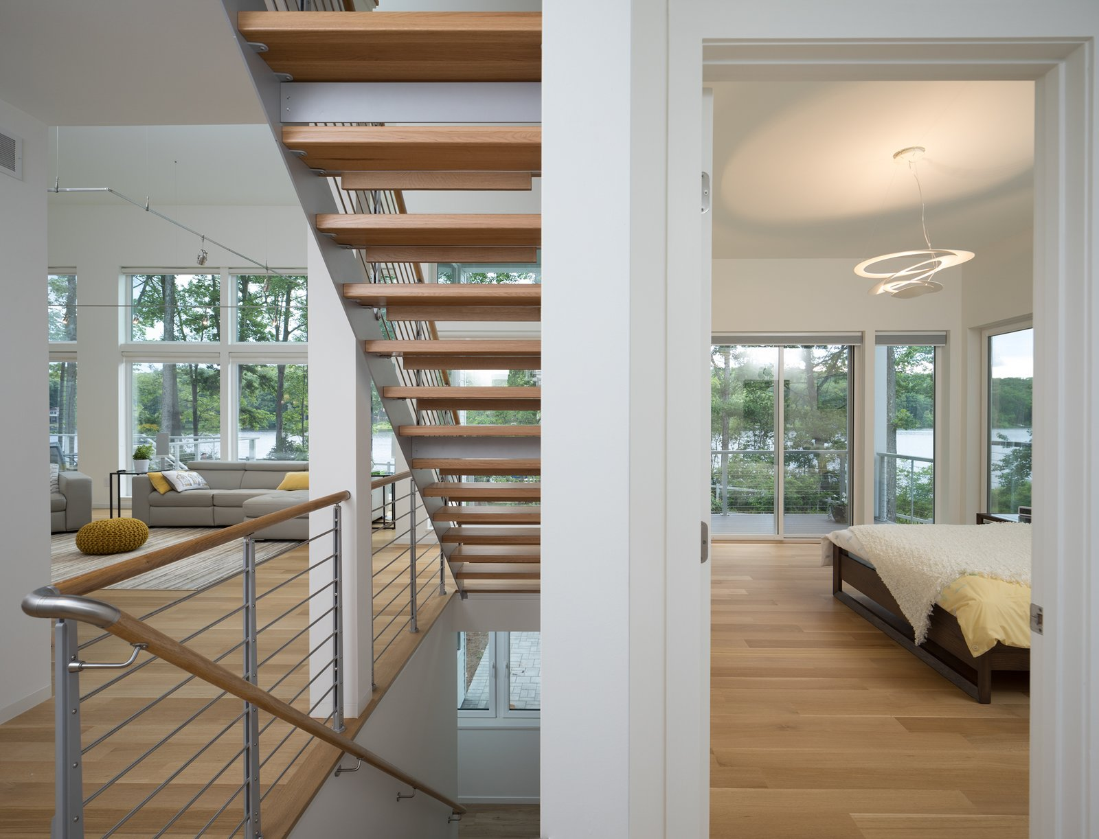 View of living room and master bedroom  Khabensky Residence by Richard Pedranti Architect