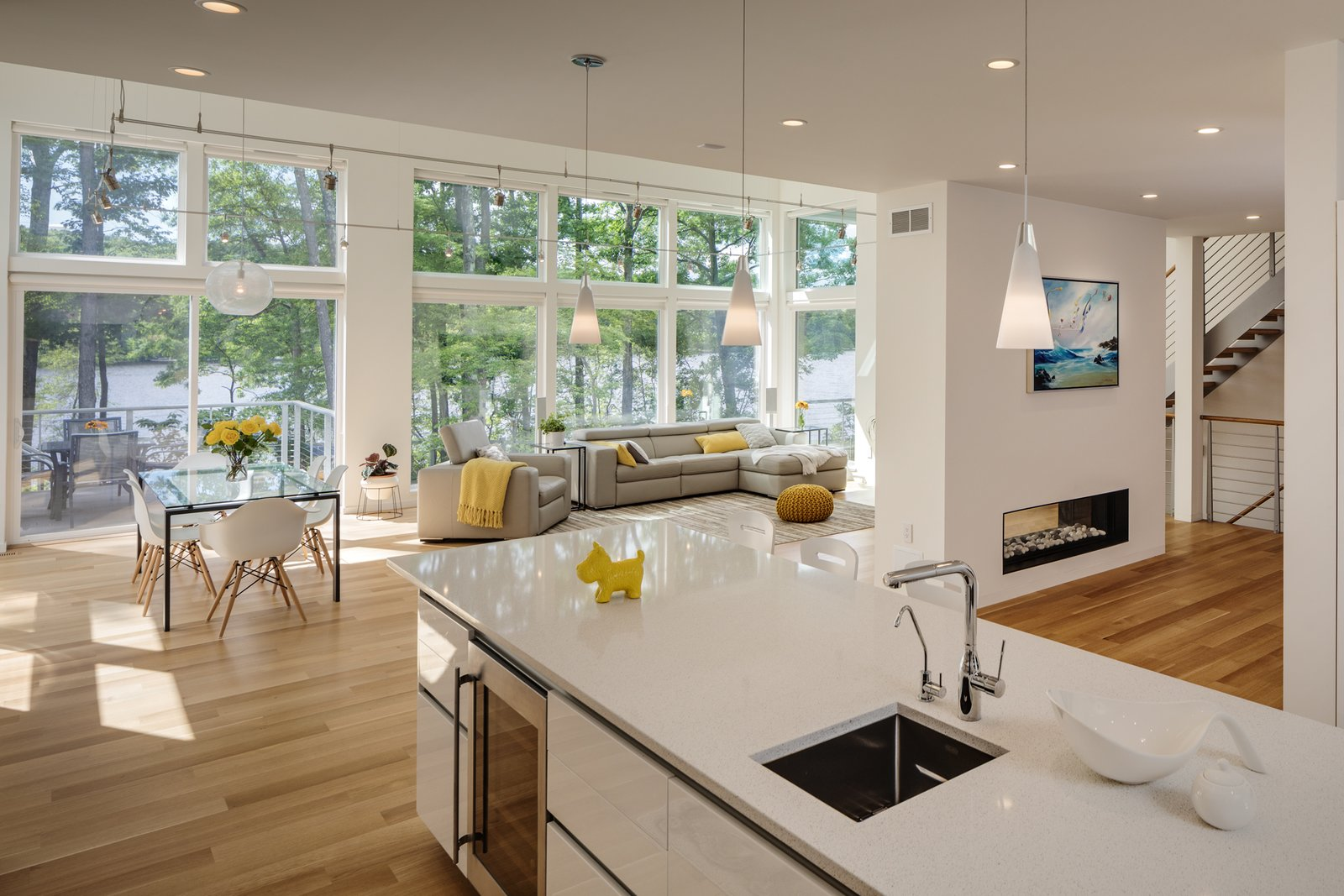 View of dining room and living room from the kitchen  Khabensky Residence by Richard Pedranti Architect