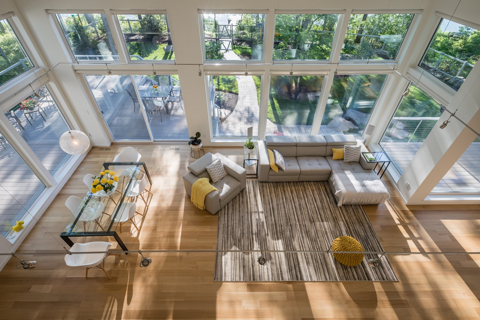 View of dining room and living room from second floor  Khabensky Residence by Richard Pedranti Architect