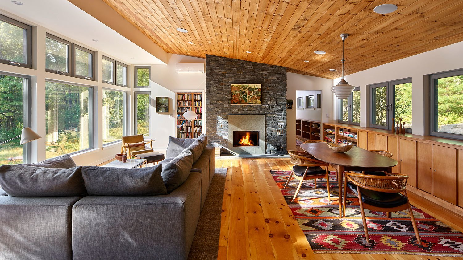 Dickerman Residence living room with modern fireplace