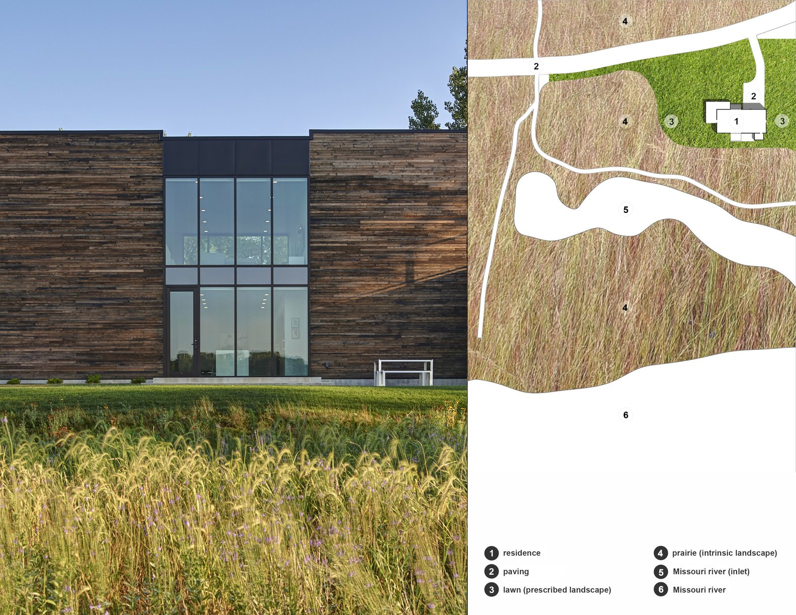 Exterior, House Building Type, Wood Siding Material, and Concrete Siding Material View from the river side looking north with a thematic site plan to the right. (2017)  530 house