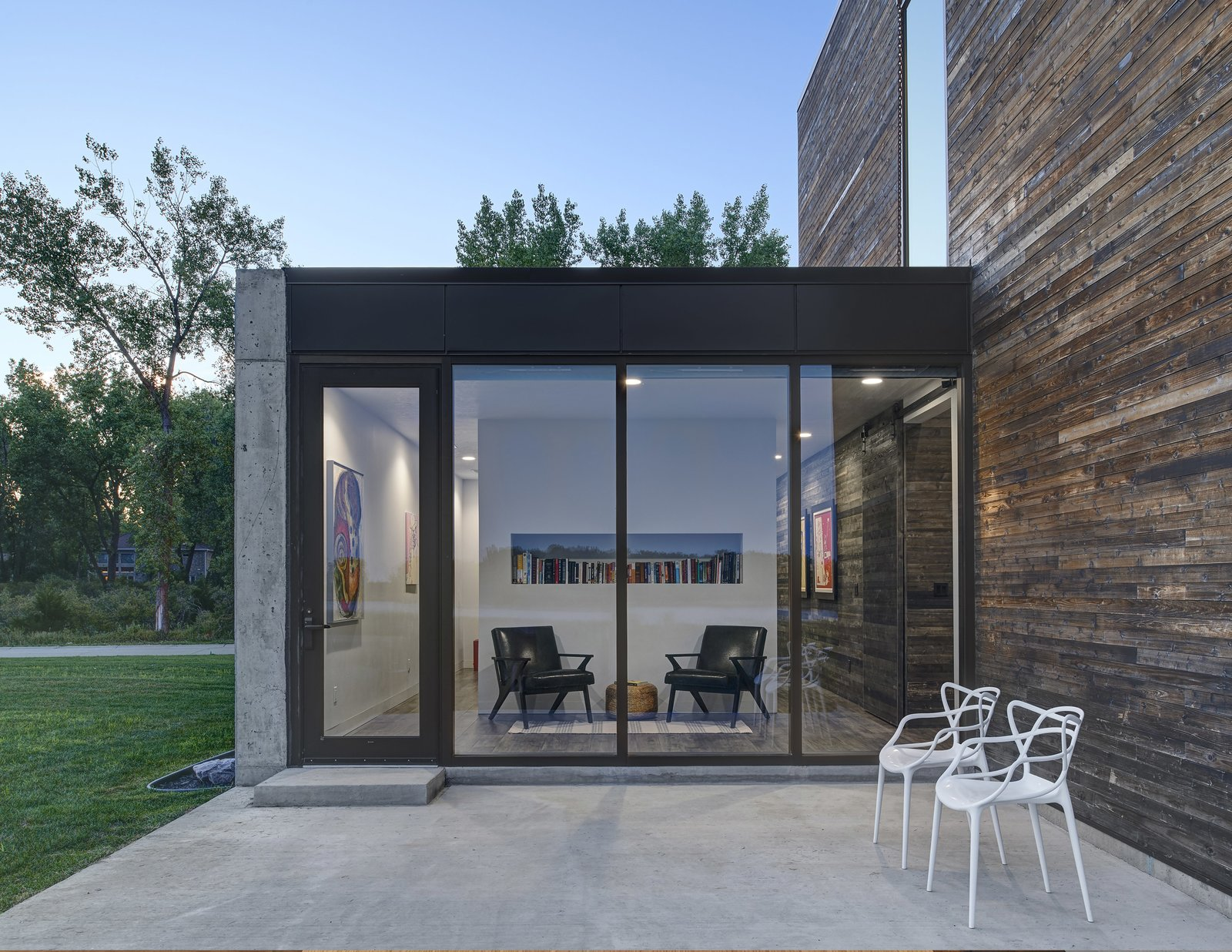 Exterior, House Building Type, Concrete Siding Material, and Wood Siding Material Daytime view of the reading room from the exterior.  (2017)  530 house