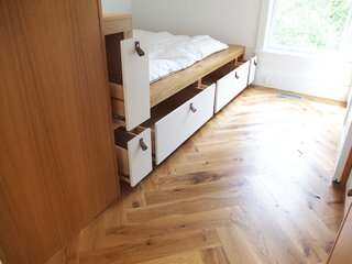Storage within built-in bed bunk