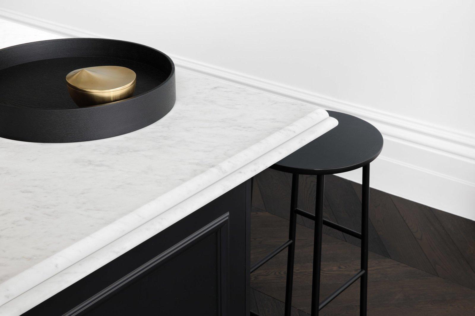 Kitchen, Marble Counter, Wood Cabinet, and Dark Hardwood Floor Kitchen details  Prahran Residence by Biasol