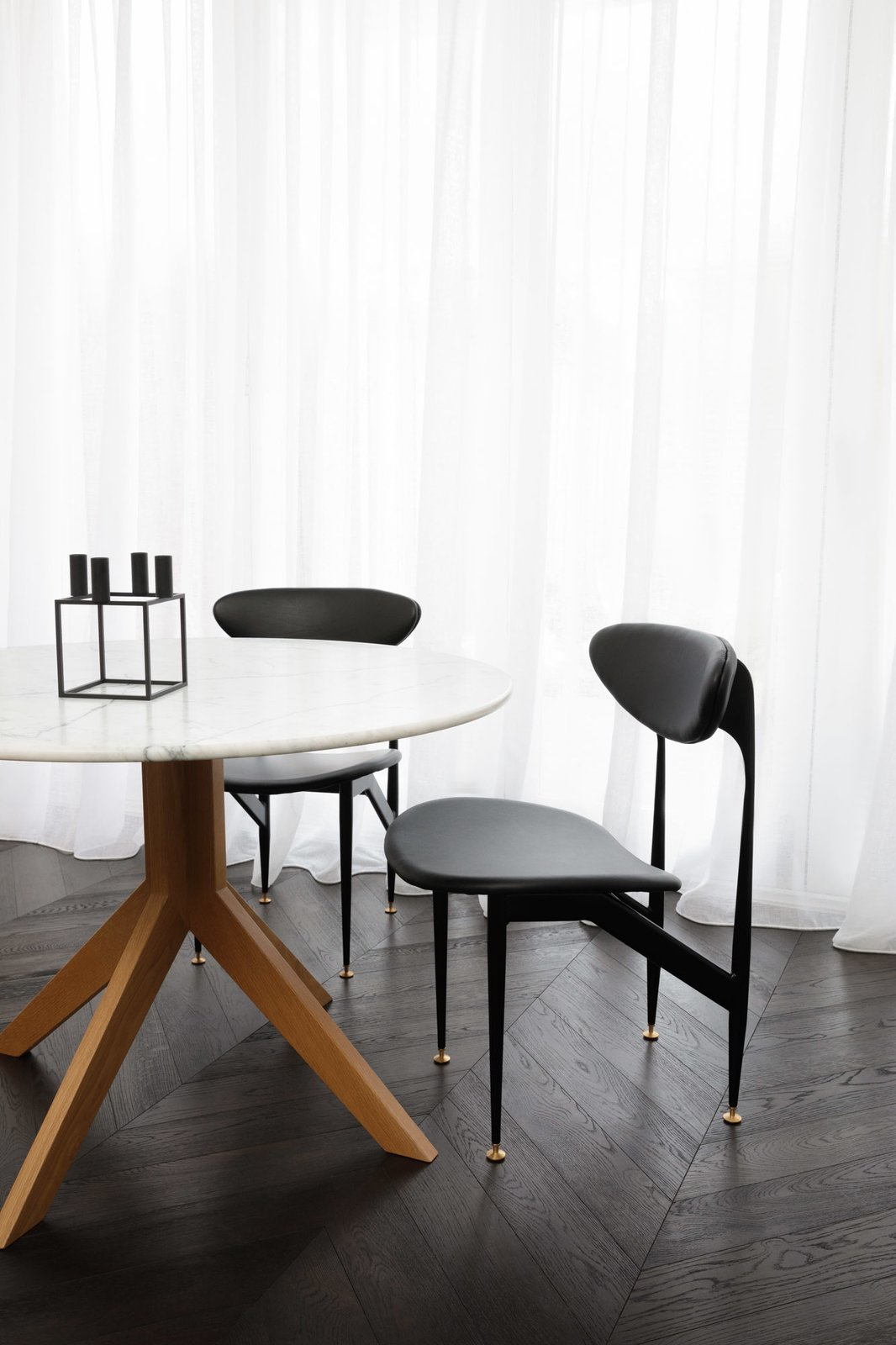 Dining Room, Dark Hardwood Floor, Chair, Ceiling Lighting, and Table Dining room  Prahran Residence by Biasol